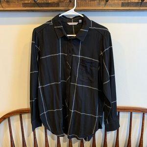 Athleta | flannel plaid button up shirt